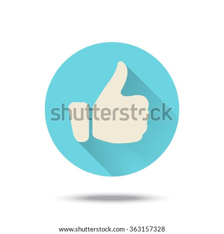 Thumb up icon button with long shadow. Vector illustration. Blue color. - stock vector