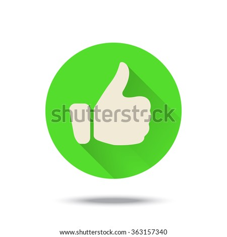 Thumb up icon button with long shadow. Vector illustration. Green color. - stock vector