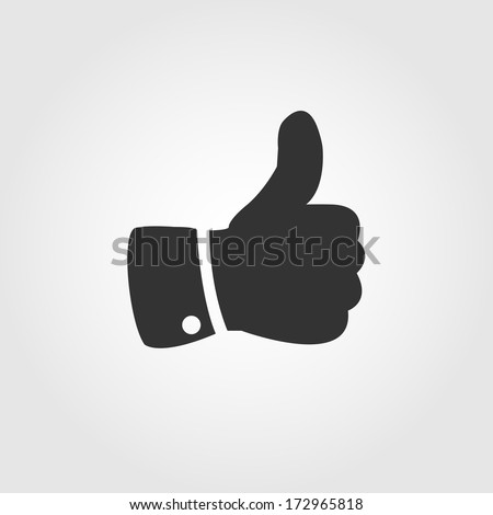 Thumb up icon, flat design - stock vector
