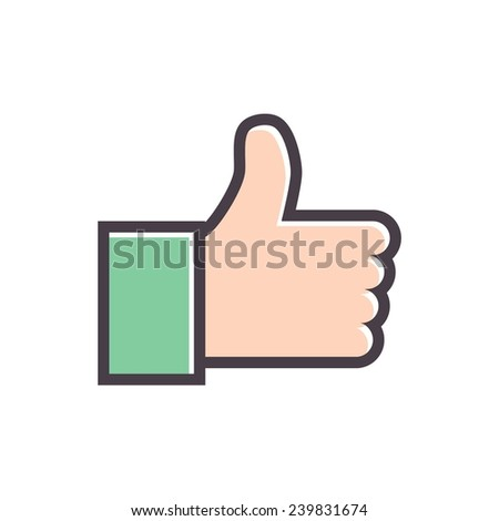 Thumb up icon,  vector. Concept for like button. Reaction of visitors to content - stock vector