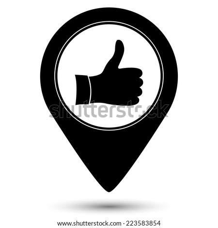 thumb up icon - vector map pointer  - stock vector