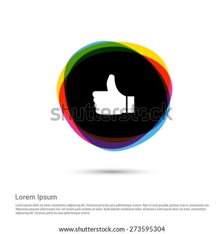 thumb up icon, White pictogram icon creative circle Multicolor background. Vector illustration. Flat icon design style - stock vector