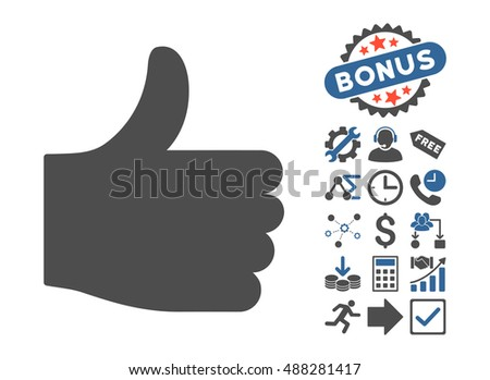 Thumb Up icon with bonus pictograph collection. Vector illustration style is flat iconic bicolor symbols, cobalt and gray colors, white background.