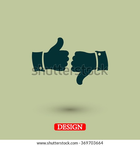 thumb up icons, vector illustration. Flat design style