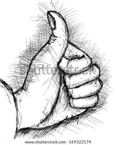 "Thumb up ""like"" hand symbol - stock vector"