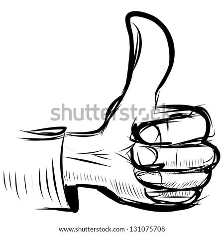 "Thumb up ""like"" hand symbol. Hand drawing sketch vector illustration - stock vector"