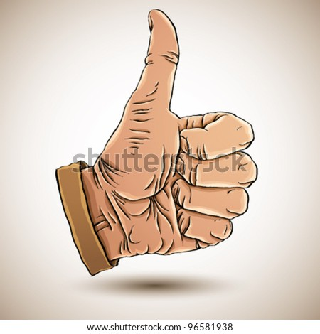 Thumb up like hand symbol. Vector illustration. - stock vector