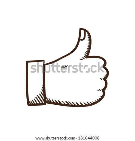Thumb up like symbol. Isolated sketch icon pictogram. Eps 10 vector illustration. - stock vector