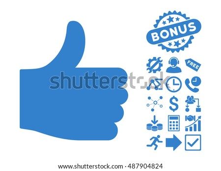 Thumb Up pictograph with bonus pictograph collection. Vector illustration style is flat iconic symbols, cobalt color, white background.