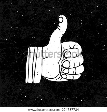 Thumb up Symbol Hand-drawn on Black Textured Background - stock vector