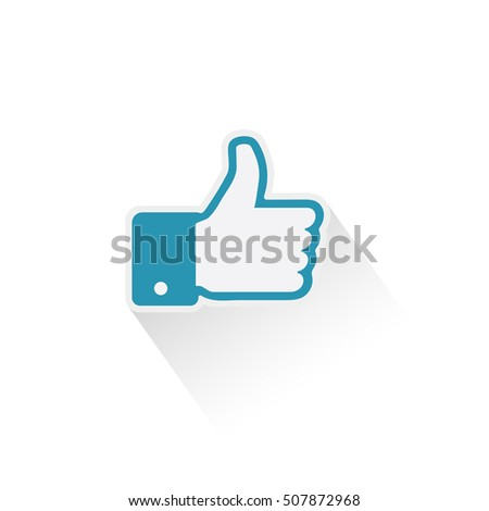 Thumb up, thumb down applique vector illustration