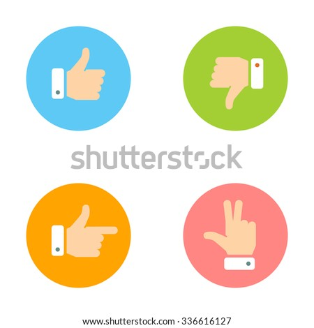 Thumb Up, Thumb Down, Peace Hand, Forefinger Icons Set. Social Network Vector Icons for App and Website. Like, Dislike Flat Signs.