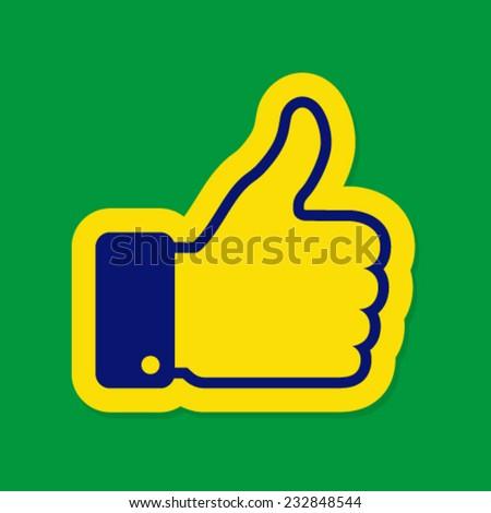 Thumb up using Brazil flag colors, vector illustration - stock vector