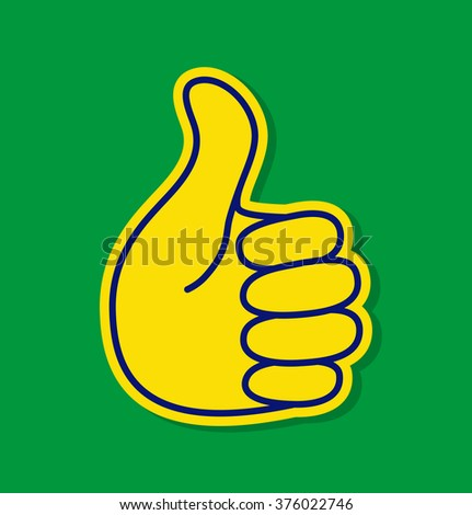 Thumb up using Brazil flag colors 2016, vector illustration