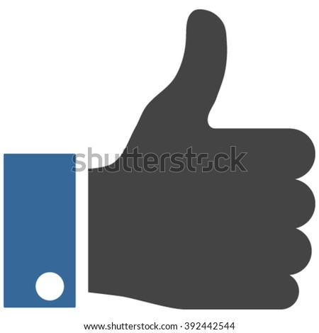 Thumb Up vector icon. Image style is bicolor flat thumb up pictogram drawn with cobalt and gray colors on a white background. - stock vector