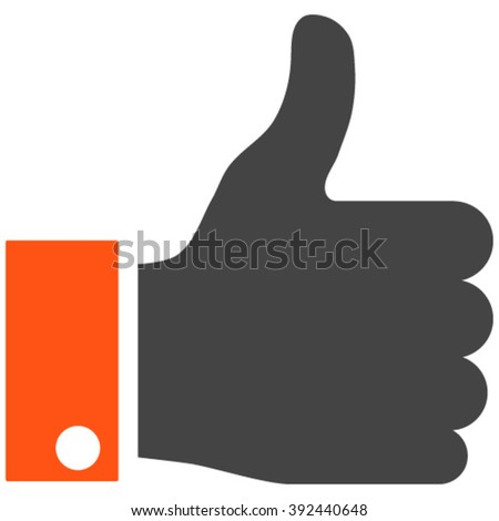 Thumb Up vector icon. Image style is bicolor flat thumb up pictogram drawn with orange and gray colors on a white background. - stock vector