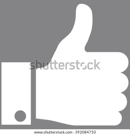 Thumb Up vector icon. Image style is flat thumb up pictogram symbol drawn with white color on a gray background. - stock vector