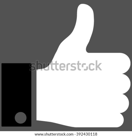 Thumb Up vector icon. Picture style is bicolor flat thumb up icon drawn with black and white colors on a gray background. - stock vector