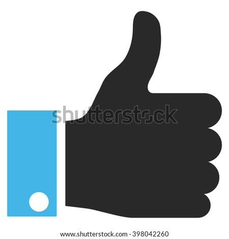 Thumb Up vector icon. Picture style is bicolor flat thumb up icon drawn with blue and gray colors on a white background. - stock vector