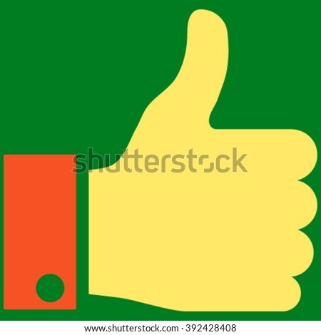 Thumb Up vector icon. Picture style is bicolor flat thumb up icon drawn with orange and yellow colors on a green background. - stock vector