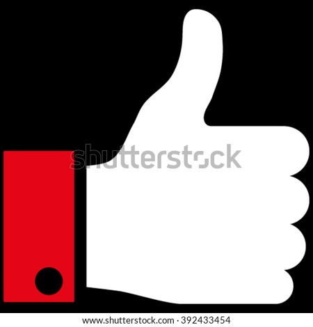 Thumb Up vector icon. Picture style is bicolor flat thumb up icon drawn with red and white colors on a black background. - stock vector