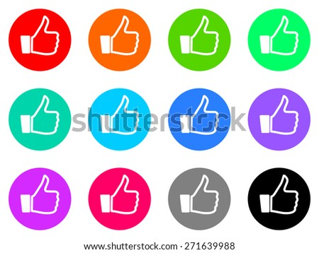 thumb up vector icon set - stock vector