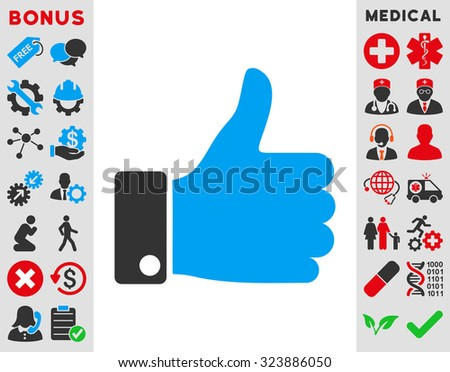 Thumb Up vector icon. Style is bicolor flat symbol, blue and gray colors, rounded angles, white background.