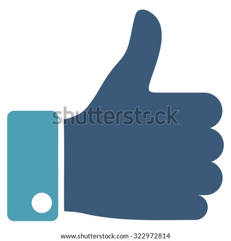 Thumb Up vector icon. Style is bicolor flat symbol, cyan and blue colors, rounded angles, white background. - stock vector