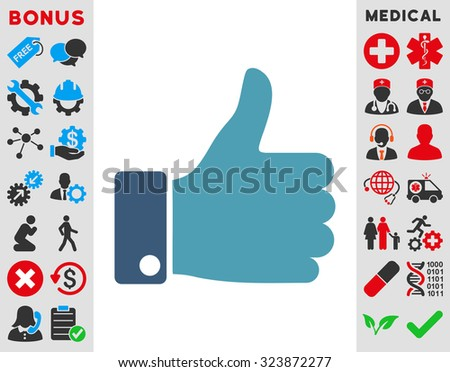 Thumb Up vector icon. Style is bicolor flat symbol, cyan and blue colors, rounded angles, white background.