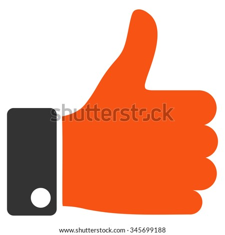 Thumb Up vector icon. Style is bicolor flat symbol, orange and gray colors, rounded angles, white background. - stock vector