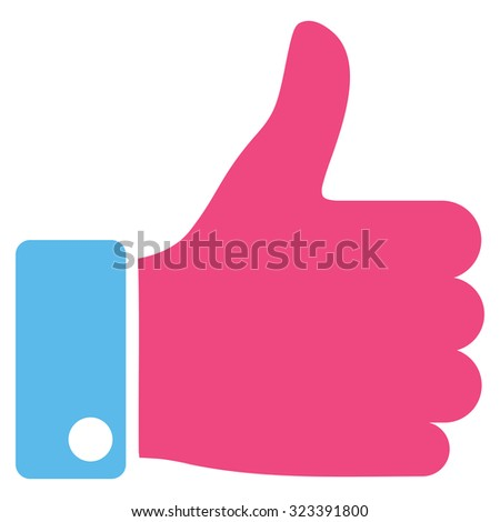 Thumb Up vector icon. Style is bicolor flat symbol, pink and blue colors, rounded angles, white background. - stock vector