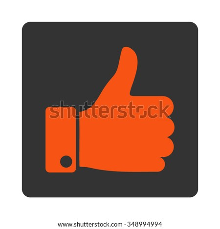 Thumb Up vector icon. Style is flat rounded square button, orange and gray colors, white background. - stock vector