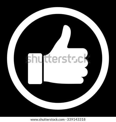 Thumb Up vector icon. Style is flat rounded symbol, white color, rounded angles, black background.