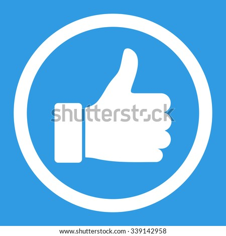 Thumb Up vector icon. Style is flat rounded symbol, white color, rounded angles, blue background. - stock vector