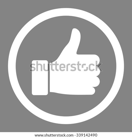 Thumb Up vector icon. Style is flat rounded symbol, white color, rounded angles, gray background. - stock vector