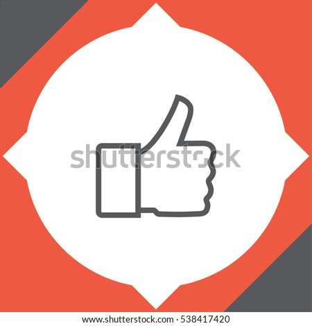 Thumb up vector icon. Wishing luck sign. Success symbol