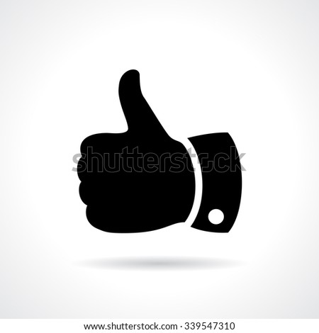 Thumb up vector sign illustration isolated on white background - stock vector