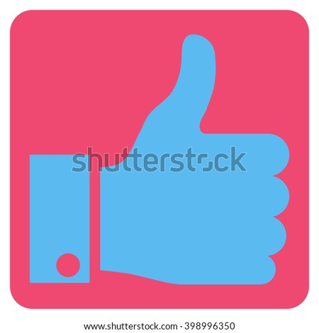 Thumb Up vector symbol. Image style is bicolor flat thumb up iconic symbol drawn on a rounded square with pink and blue colors. - stock vector