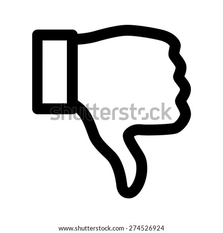 Thumbs down dislike / hate or thumbs down dislike for social networks line art icon for apps and websites - stock vector