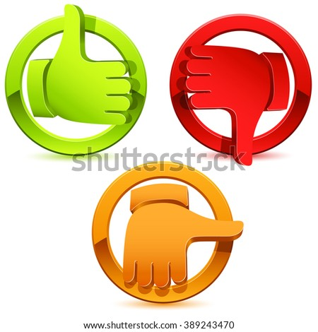 thumbs icon set - vector illustration