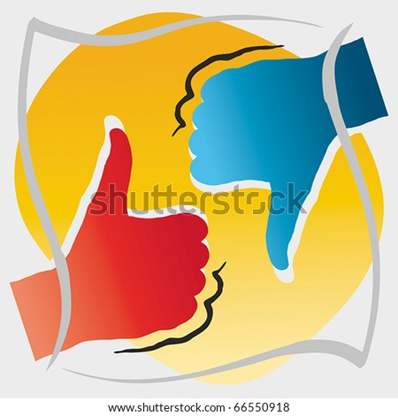 Thumbs up and down, approval and disapproval concept, EPS 8, CMYK - stock vector
