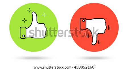 Thumbs up and down buttons. Vector simple red and green color icons. - stock vector