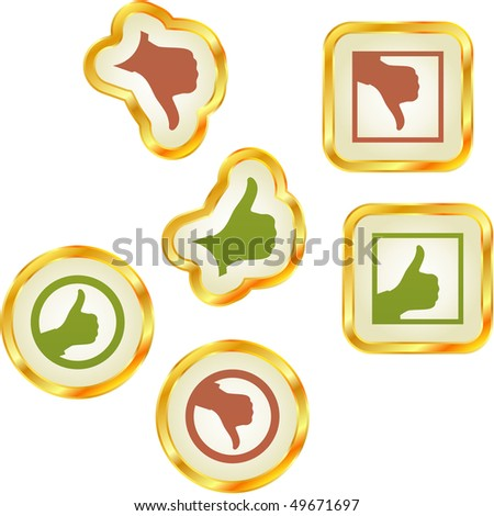 Thumbs up and down. Set of design icons. - stock vector