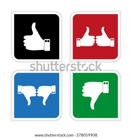 thumbs up and down  - vector icon set