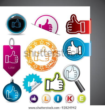 Thumbs up and like symbol on various elements - stock vector
