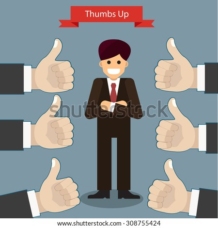 Thumbs up and likes in flat design . Vector illustration . - stock vector