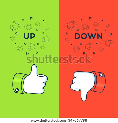 Thumbs up and thumbs down sign in flat line style. Like and Dislike vector illustration. - stock vector