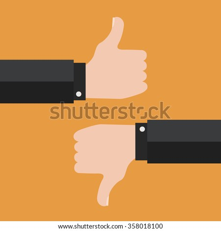 Thumbs Up and Thumbs Down vector - stock vector