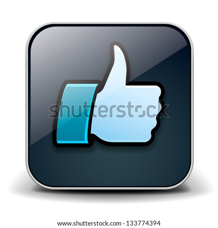 Thumbs up button - like button, vector illustration. - stock vector