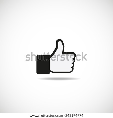 Thumbs up button - like button, vector  illustration  - stock vector